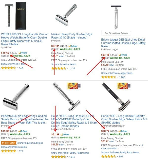Safety Razor Prices in Amazon