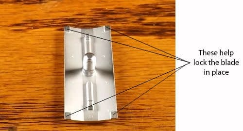 These four elevated squares help lock the blade in place
